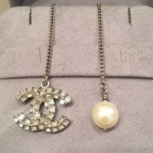 Chanel pearl and bejeweled CC silver necklace